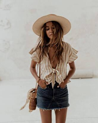 top hat tumblr crop tops v neck stripes striped top skirt denim denim skirt mini skirt straw hat