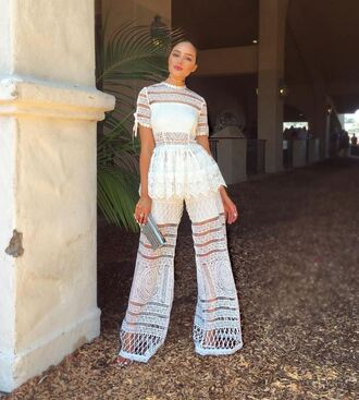 blouse summer lace lace top olivia culpo summer outfits summer top see through jumpsuit white jumpsuit wide-leg pants