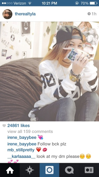 sweater jersey black white wolftyla crewneck hba