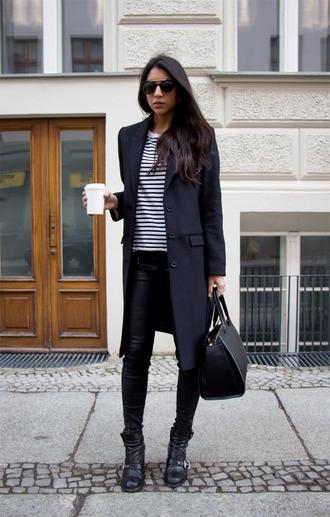 coat sunglasses white striped shirt leather pants black boots blakc bag blogger