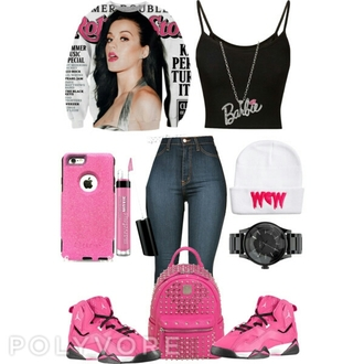 sweater katy perry barbie jordans bag hat jewels phone cover