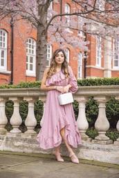 dress,wedding guest,pink dress,maxi dress,asymmetrical dress,shoes,pink shoes,bag,asymmetrical,one shoulder