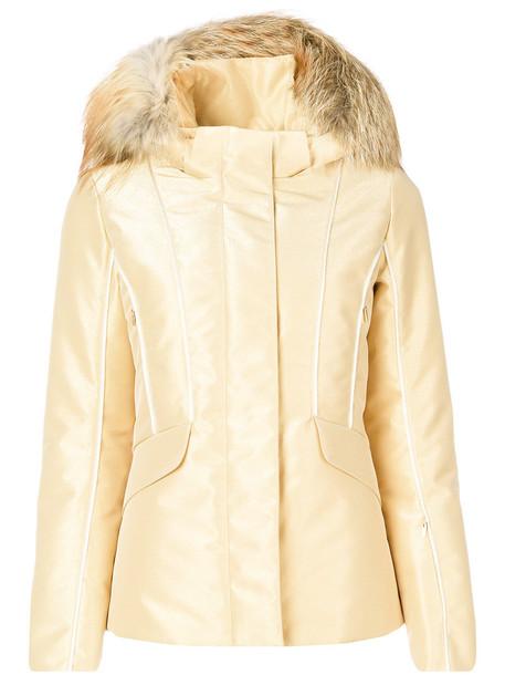 Fendi jacket hooded jacket fur fox women grey metallic
