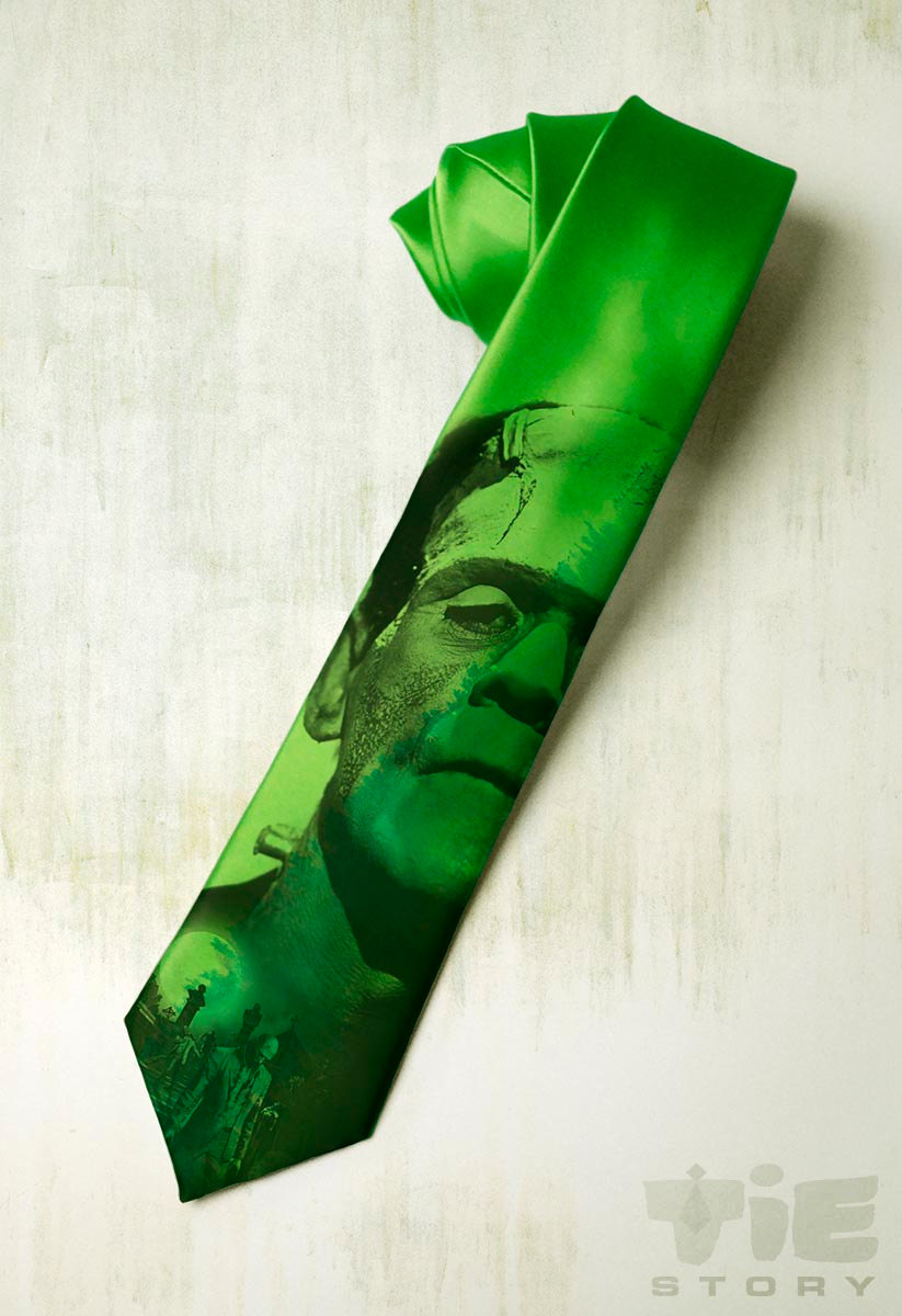 Frankenstein on mens tie. Green gothic necktie inspired by Boris Karloff movie. Gift for fan classic horror, steampunk, Mary Shelleys book.