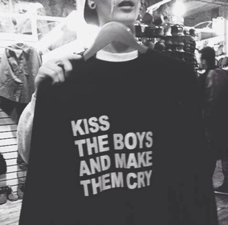 sweater black jumper quote on it top kiss the boys and make them cry