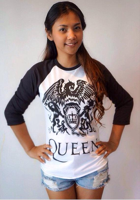 queen t shirt baseball style 3  4 sleeve raglan tee by petathai