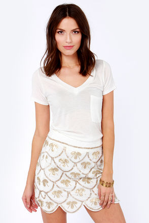 Pretty Ivory Skirt - Sequin Skirt - Beaded Skirt - $88.00