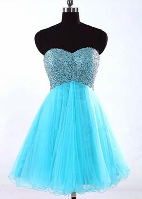 A-line Blue Sweetheart Short Prom Dress/Homecoming Dresses