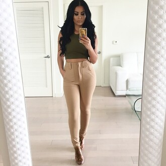 pants high waisted beige nude skinny skinny pants slimmed dressy casual womens linen trousers bottoms cute outfit clothes leggings khaki pants khaki leggins khaki