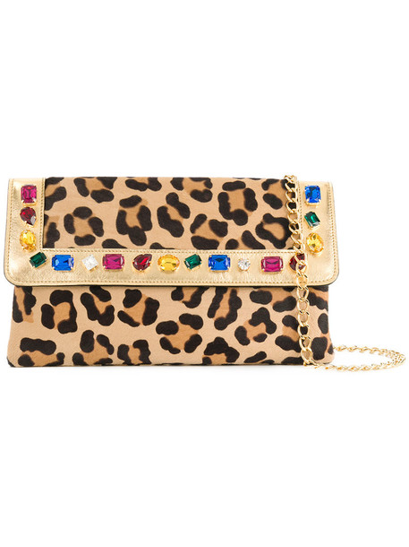 CASADEI hair women embellished bag clutch leather nude print satin leopard print