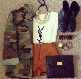 coat army cute shorts boots glasses shirt neclace bag accessories