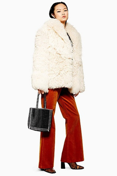 TopShop Patched Shearling Coat - Cream