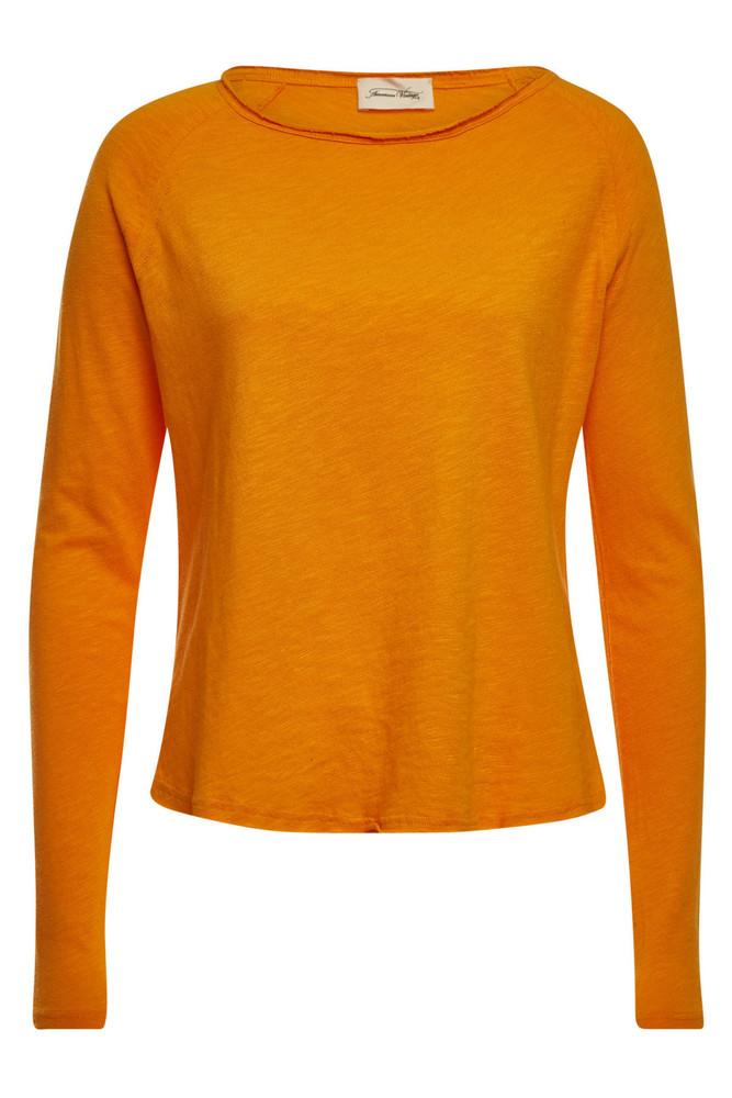 American Vintage Long Sleeved Cotton Top  in orange