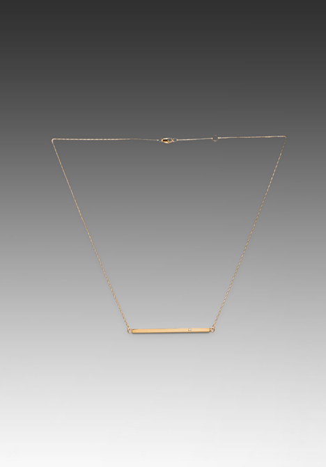 JENNIFER ZEUNER Horizontal Bar Necklace with Diamond in Yellow Vermeil at Revolve Clothing - Free Shipping!
