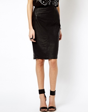 Mango | Mango Leather Pencil Skirt at ASOS