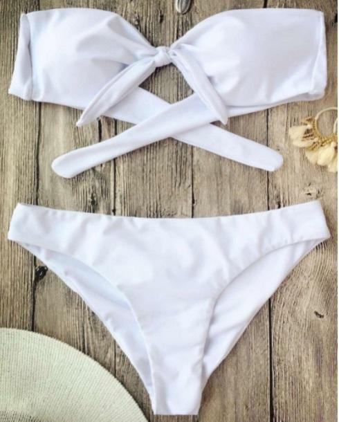 swimwear girly white bikini bikini top bikini bottoms two-piece bow bandeau bikini