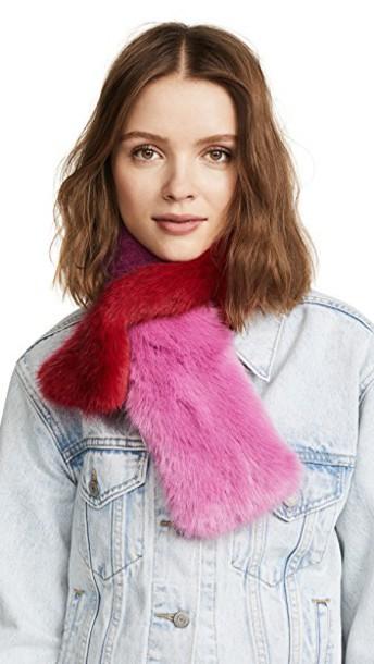 CHARLOTTE SIMONE fur faux fur scarf fur scarf pink red