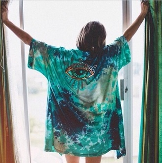 shirt blue shirt tie dye shirt mint green shirt helpmefindthis eye