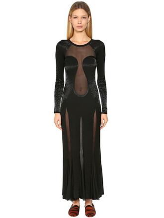 dress long dress long sheer beaded knit black
