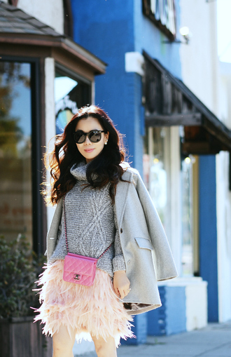 hallie daily blogger bag sunglasses jewels baby pink feathers grey sweater turtleneck skirt grey coat pink grey cable knit sweater oversized turtleneck sweater turtleneck sweater pink bag