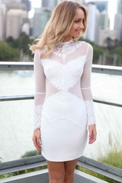 dress,lace dress,white,bodice,long sleeves