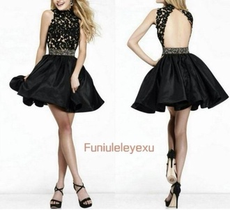 backless dress backless prom dress black short dress back dress