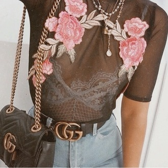 t-shirt transparent transparent top floral flowers roses gucci crop tops chic pink black