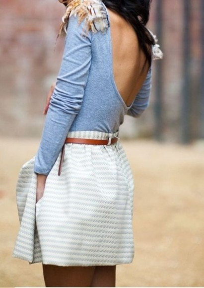 skirt striped skirt back scoop back Belt