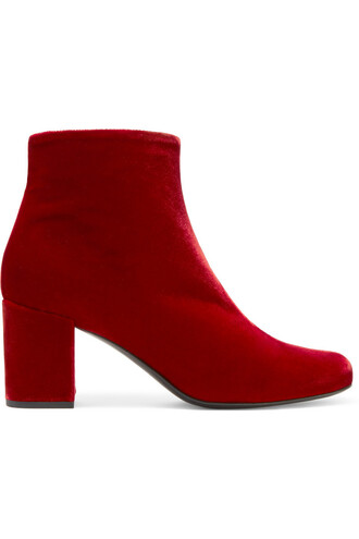 boots ankle boots velvet red shoes