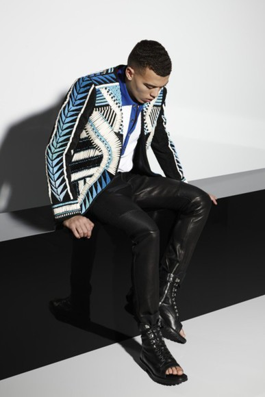 aztec jacket swag patern streer menswear mens jacket leather pants