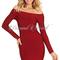 Long sleeve bardot bandage dress burgundy