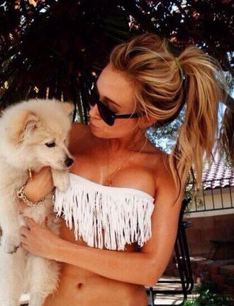 swimwear whites white swimwear dog summer bandeau top bikini sexy bikini beautiful sunglasses