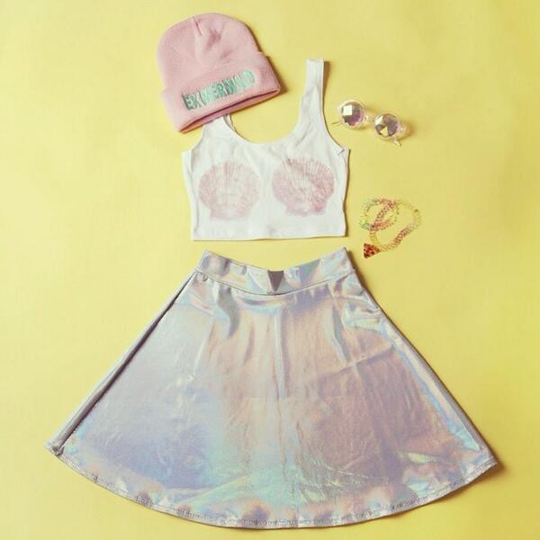 skirt iridiscent skirt seapunk pastel goth lilac skirt soft grunge silver skirt hat top metallic skirt