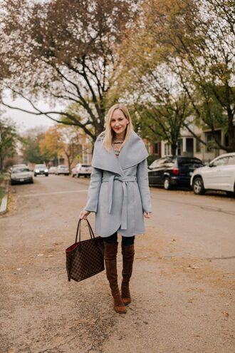 kelly in the city - a preppy chicago life style and fashion blog blogger coat sweater hat gloves scarf shoes jeans fall outfits wool coat grey coat boots brown boots louis vuitton bag