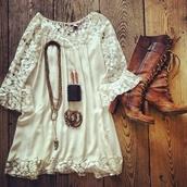 dress,lace dress,boots,cowboy boots,necklace,earrings,shoes,vintage boots,white crochet dress,crochet dress,white lace dress,white dress,white,cute,brown leather purse