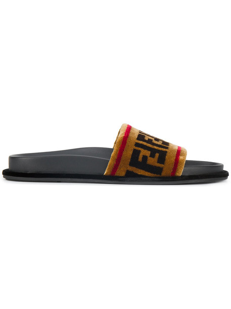 Fendi women tapestry leather print velvet brown shoes