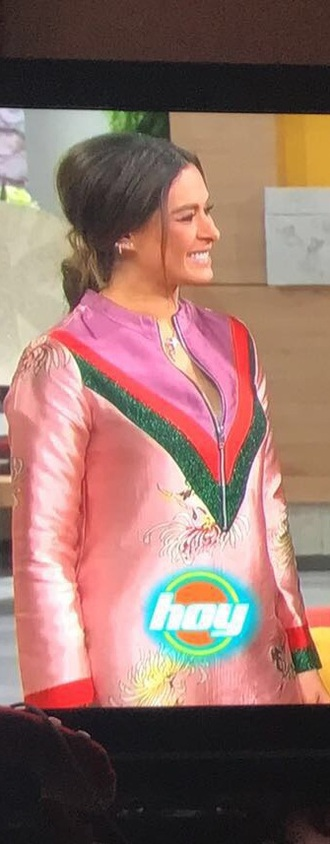 dress gucci galilea montijo silk zipper dress pink sparkle