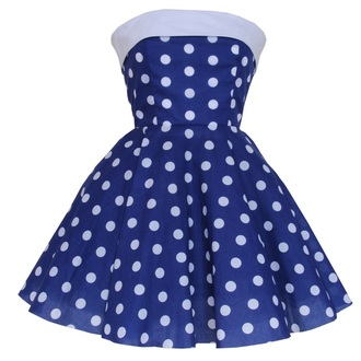 dress styleiconscloset blue polka dots trapless strapless blue promdress