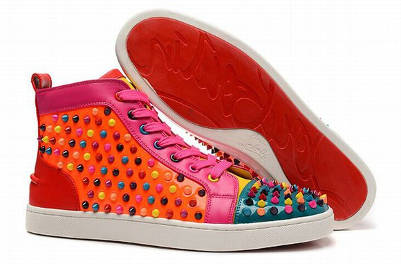 shoes christian louboutin shoeschristianlouboutinsales.com christian louboutin multicolor spiked flats sneakers orange green men style orange pink fuschia sneakers mens shoes colorful louis vuitton chanel
