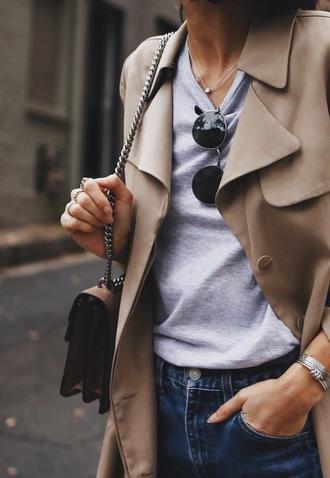 coat tumblr trench coat beige coat camel coat top grey top sunglasses