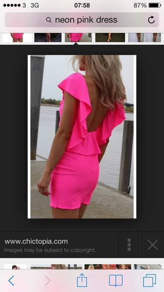 dress blonde girl neon pink www.chictopia.com