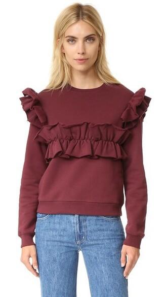 sweatshirt ruffle cotton burgundy sweater