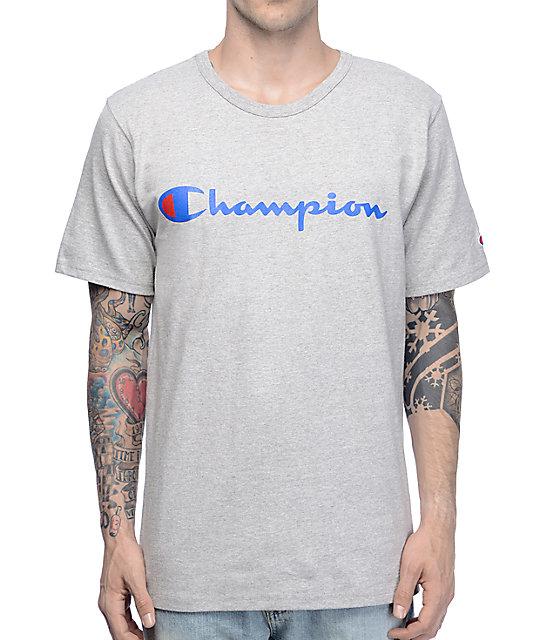 cd9222cc08f46d Champion Script Heather Grey T-Shirt