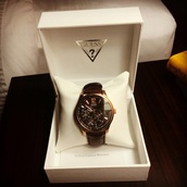 jewels,brown,watch,guess patterned inside,guess,menswear,birthday present