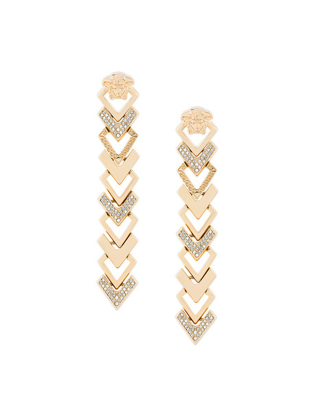 VERSACE metal arrow women embellished earrings grey metallic jewels