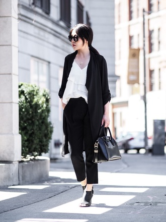 top tumblr white top ruffle ruffled top coat black coat pants black pants cropped pants high heels heels peep toe heels sunglasses bag black bag shoes work outfits office outfits