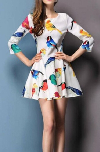 dress floral bird dress print fashion new