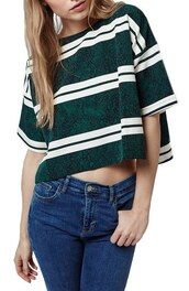top,printed t-shirt,green,stripes,crop tops