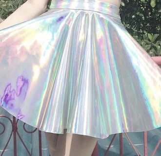 skirt holographic cute pale