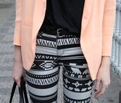 jeans,clothes,aztec,printed jeans,pants,jacket,Trible,fall outfits,skinny jeans,peach,salmon,fashion